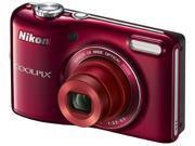 Nikon COOLPIX L28 20.1 MP Digital Camera - Red, Strap, USB cable