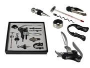 9 Piece Rabbit Corkscrew Wine Bottle Opener Set in Handsome Synthetic Leather Gift Box