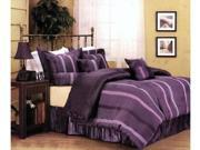 Pleated Purple Stripe Comforter Set Bed In A Bag Queen
