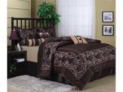 7 Pc Luxourious Brown Floral Satin Comforter Set Queen