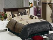 7 Pc Luxury Embroidery Flower Comforter Set Bed In A Bag Queen Brown/Black/Beige