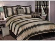 7 Pcs Luxourious Jacquard Classical Stripes Bed Comforter Set Queen Taupe/Brown