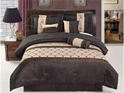 7 Pcs Embroidery Rose Floral Comforter Set Bed In A Bag Queen Coffee Brown/Beige
