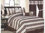 7 Pcs Classic Parallel Plaid Comforter Set Bed In A Bag Queen Chocolate Brown