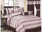 7 Pcs Classic Parallel Plaid Comforter Set Bed In A Bag Queen Light Purple