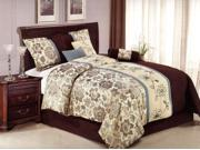 7 Pieces Queen Size Comforter Set Elegant Embroidery Floral Light Blue Brown Beige