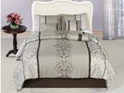 7 Pcs Luxury Majestic Royalty Bedding Comforter Set Queen Taupe Grey