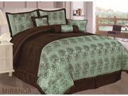 7 Pieces Flocking Lotus Floral Comforter Set Bed In A Bag Queen Size Teal Brown