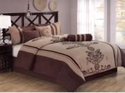 7-Pieces Elegant Flocking Floral Comforter Set Bed In A Bag Queen Coffee Brown