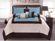7-Pieces Modern Micro Suede 3-Tone Comforter Set Bed In A Bag Queen Blue Brown Beige
