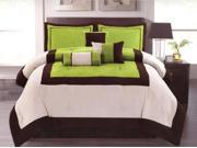7-Pieces Modern Micro Suede 3-Tone Bed Comforter Set King Lime Green Brown Beige