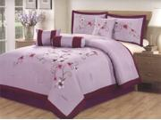 7 Pcs Elegant Embroidery Pink Floral Comforter Set Bed In A Bag Queen Purple/Burgundy