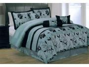 7 Piece Flocking Floral Comforter Set Bed In A Bag