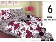 6 Pieces Twin Size Zebra/Hearts Comforter And Sheet Set Bed In A Bag With Bonus Stuffed Animal