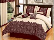 7 Pcs Flocking Paisley Comforter Set Bed In A Bag Queen Burgundy/Taupe