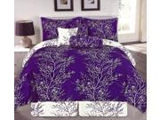 7-Piece Embellished Rain Forest Floral Bedding Comforter Set Queen Purple, White