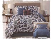 5-Piece Embellished Floral Reversible Comforter Set Queen Bed-In-A-Bag Blue Brown