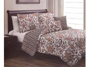 5-Piece Embellished Floral Reversible Quilt Set Queen Bed-In-A-Bag Orange Brown