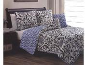 5-Piece Embellished Floral Reversible Quilt Set Queen Bed-In-A-Bag Blue Brown