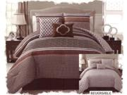 5-Piece Polka Dot Reversible Comforter Set Queen Bed-In-A-Bag Brown Beige