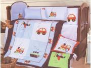 8 Piece Beautiful Cotton Train, Car, Airplane Crib Set Bed-In-A-Bag Light Blue, Red