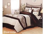 7-Pieces Complete Modern Comforter Set Bed-In-A-Bag Queen Brown, Beige, Gold