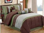 7-Piece Modern Diamond Comforter Set Queen Bed-In-A-Bag Sage, Brown, Taupe