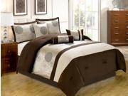 7-Piece Embroidery Floral Comforter Set Queen Bed-In-A-Bag Brown, Beige