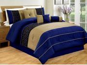 7-Piece Embroidery Modern Comforter Set Queen Bed-In-A-Bag Blue, Black, Taupe