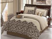 7-Piece Flocking Paisley Comforter Set Bed In A Bag Queen Coffee