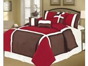 7-Piece Modern Patchwork Comforter Set Queen Bed-In-A-Bag Burgundy, Brown, White