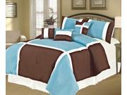 7-Piece Modern Patchwork Comforter Set Queen Bed-In-A-Bag Sky Blue, Brown, White