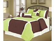 7-Piece Modern Patchwork Comforter Set Queen Bed-In-A-Bag Lime Green, Brown, White