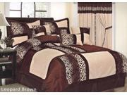 7-Piece Micro Fur Leopard Patchwork Bed-In-A-Bag Comforter Set King Brown, Black