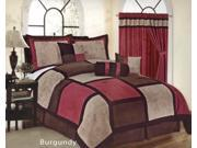 7-Piece Micro Suede Patchwork Comforter Set Queen Bed-In-A-Bag Burgundy, , Brown, Taupe