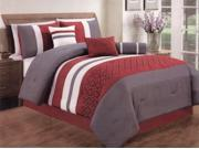 7-Piece Modern Embroidery Comforter Set Queen Bed-In-A-Bag Burgundy, Gray