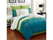 8-Piece Embroidery Floral Comforter Set King Bed-In-A-Bag Lime Green, Turquoise