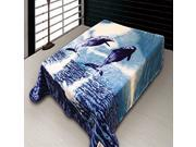 2-Ply Queen Size Dolphin Plush Soft Mink Blanket Blue