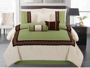 7-Piece Modern Embroidery Comforter Set King Bed-In-A-Bag Sage, Brown, Beige