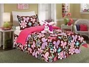 6 Piece Twin Size Pop Butterly Comforter And Sheet Set Bed In A Bag With Bonus Stuffed Animal
