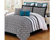 8 Pc Katia Comforter Set Euro Shams Queen Bed-In-A-Bag Black, White, Turquoise