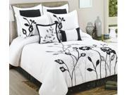 8 Pc Spring Floral Comforter Set Euro Shams Queen Bed-In-A-Bag Black White