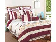 8 Piece King Beaufort Burgundy and Offwhite Bedding Comforter set