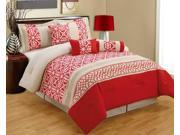7 Pc Ceasar Comforter Set King Bed-In-A-Bag Red, Beige
