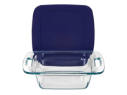Pyrex 8-in. Glass Easy Grab Baking Dish with Blue Cover, Blue
