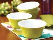Rachael Ray Set of 4 Round & Square Cereal Bowls, Green Apple