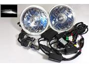"7"" Round H6024 Projector JDM Headlights 6000K White Bi-Xenon HID Conversion Kit"