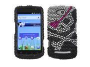 Black/Silver/Pink Skull Diamante/Bling Protective Case COOLPAD Quattro 4G 5860E