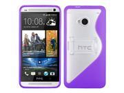 Transparent/Solid Purple S Shape w/ Stand Protective Cover Case for HTC One/M7