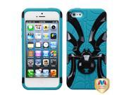 Solid Black/Teal Spider Case +Silicone +Screen Protector For iPhone 5 5S